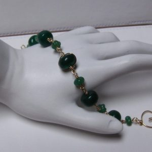 14K Gold-filled Wire Wrapped Genuine Emerald Bead Bracelet