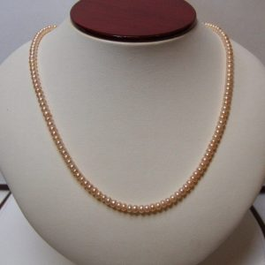 Petite Freshwater Peach Button Pearl & 14K Gold Necklace