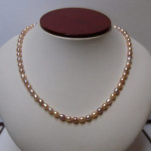 Tri-Colored Freshwater Rice Pearl Necklace w/10K Gold Toggle Clasp