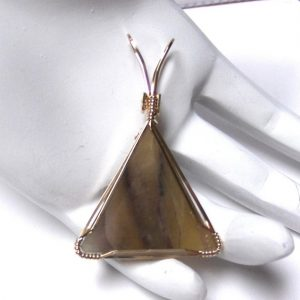 Faceted Triangle Fluorite Pendant with 14K Gold-filled Wire Wrapped Setting