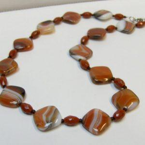 Orange & White Brazilian Agate with Red Jasper Bead Necklace
