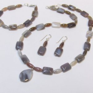 Botswana Agate Bead Necklace, Bracelet & Earring Set