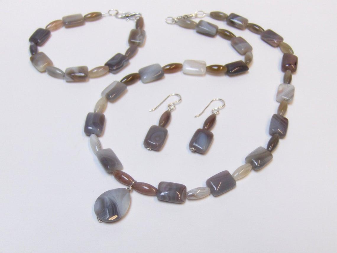 Bracelet Earrings in Agate Botswana