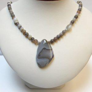 Dove Grey Botswana Agate Focal & Bead Necklace