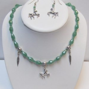 Faceted Green Aventurine Tears with Horse & Feather Charms Necklace/ Earring Set