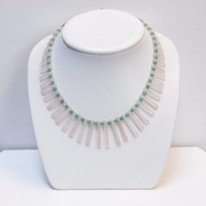 41 pc Rose Quartz Fan and Green Aventurine Bead Necklace