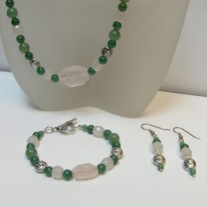 Faceted Rose Quartz & Green Aventurine with Dragon Beads Necklace, Bracelet and Earrings Set