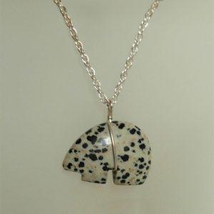Dalmatian Jasper Zuni Bear Pendant with Sterling Silver Wire Wrap