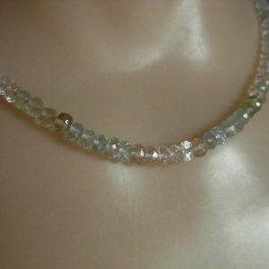 Faceted Aquamarine, Morganite, Goshenite & Heliodor Bead Necklace