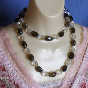 Chunky Statement Necklace with Clear & Smoky Quartz Baroque Beads