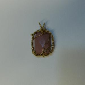 14K Gold-filled Wire Wrapped Dusty Rose Mookaite Jasper Pendant