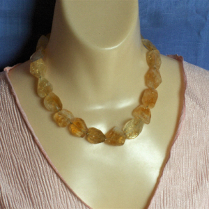 Faceted Baroque Citrine & 14K Gold-filled Bead Necklace