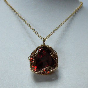 Fiery Red Cubic Zirconia Pendant with a 14K Gold-filled Wire Wrapped Setting