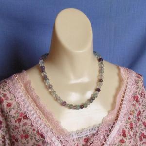 Multicolored Fluorite Gemstone Bead Necklace