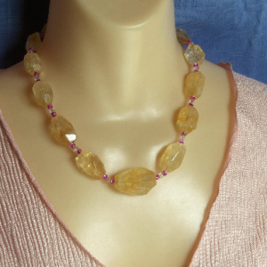 Graduated Faceted Baroque Citrine Nugget Necklace with Purple & Clear Spacers