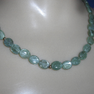 Green Kyanite Oval Bead Necklace with 14K Gold filled Accents & Clasp