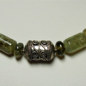 Green Grossular Garnet & Bali Silver Focal Bead Necklace