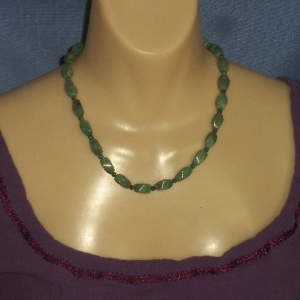 Green Garnet Twist Bead Necklace