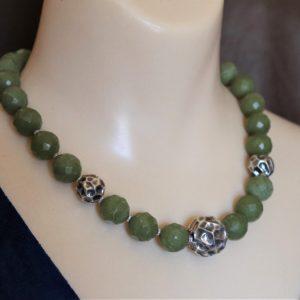 Faceted Serpentine & Vintage Sterling Silver Crinkle Bead Designer Necklace