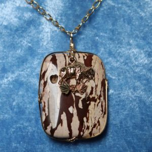 Wild Horse Jasper Pendant with a Whitaker's Black Hills Gold Bison Accent