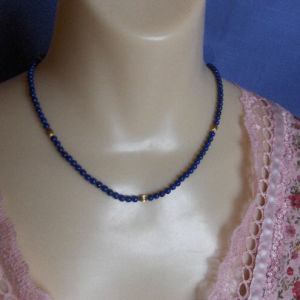 Natural Lapis Lazuli Bead Necklace with 14K Gold-filled Accents & Clasp