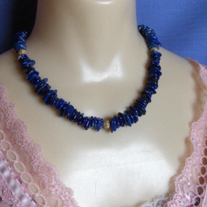 Lapis Lazuli Chips and 14K Gold-filled Stardust Bead Necklace