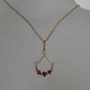 Natural Ruby Bead & 14K Gold-filled Wire Wrapped Pendant