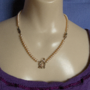 Peach Freshwater Pearl Necklace with Whitaker's Black Hills Gold Accents & Toggle Clasp