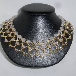 Faceted Rose Quartz & Galvanized Gold Seed Bead Netted Collar Necklace