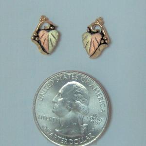 Whitaker's Black Hills Gold Antiqued Bi-color Leaf Earrings