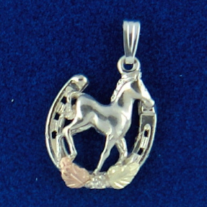 Whitaker's Black Hills Gold on Silver Pony in a Horseshoe Pendant