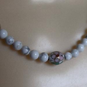 White Howlite & Clear Quartz with Floral Cloisonne' Focal Bead Necklace