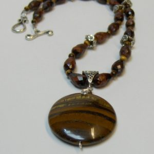 Tiger Iron Focal with Faceted Red Tigereye Bead Necklace